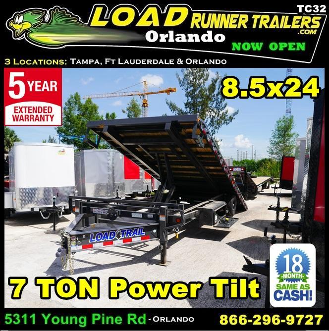 *T32* 8.5x24 7 TON Flatbed Tilt Trailer | Deck Over Power Tilt 8.5 x 24 | TFC102-24T7-PT
