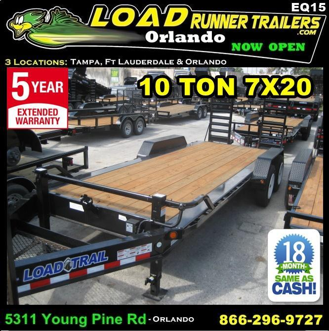 "*EQ15* 7x20 10 TON Equipment Hauler Trailer w/17.5"" 16 PLY Tires 7 x 20 