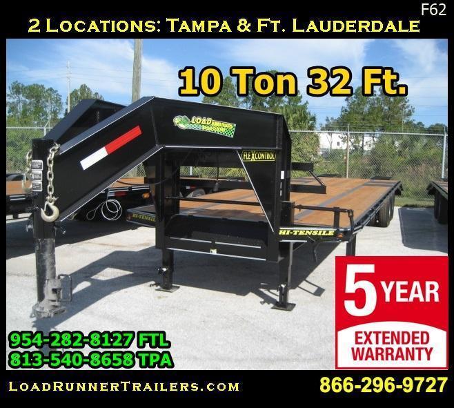 *F62* 8.5x32 Gooseneck Flatbed Trailer 10 TON Deck Over Low Profile 8.5 x 32   FG102-32T10-LP/FF