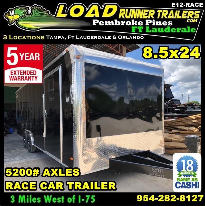 *E12-Race* 8.5x24 RACE CAR ENCLOSED CARGO TRAILER |LR TRAILERS 8.5 x 24 | EV8.5-24T5-RACE