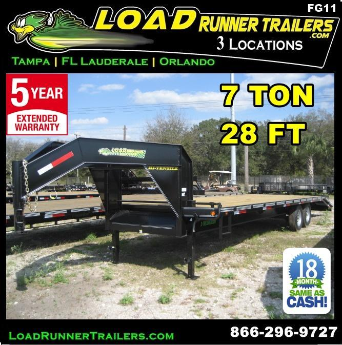 *FG11* 8.5x28 7 TON Gooseneck Flatbed Deck Over Trailer 8.5 x 28 | FG102-28T7-FF