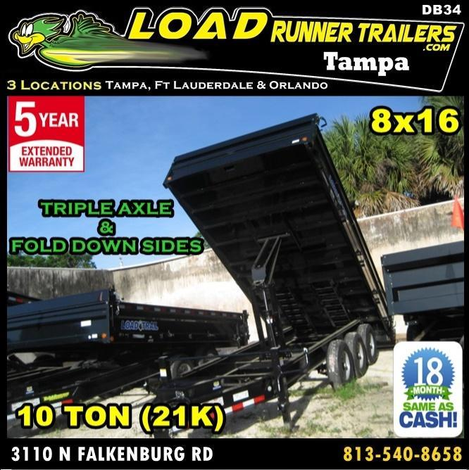 *DB34* 8x16 Triple Axle 21K Dump Trailer Trailers Fold Down Sides 8 x 16 | D96-16TT7-18S