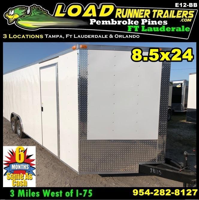 *E12-BB* 8.5x24 ENCLOSED CARGO TRAILER  LR Car Hauler Trailers 8.5 x 24   EV8.5-24T3-R
