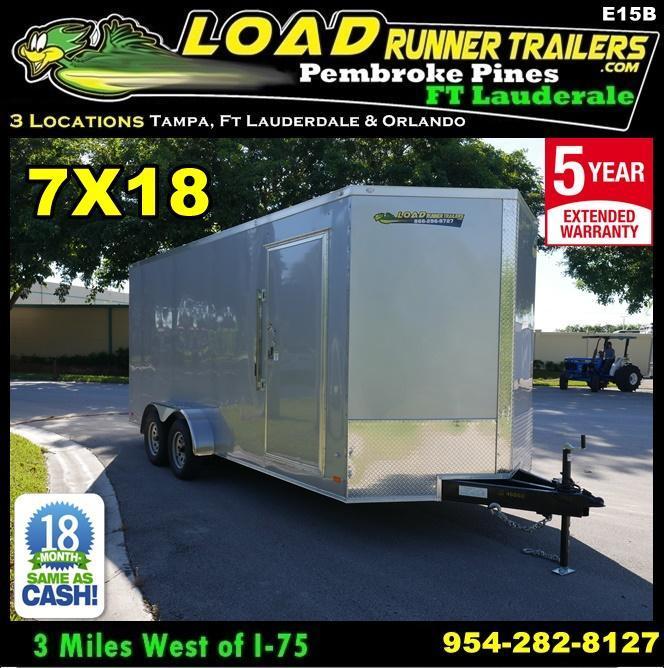 *E15B* 7x18 Enclosed Cargo Trailer Box Trailers|105234| 7 x 18 | EV7-18T3-R