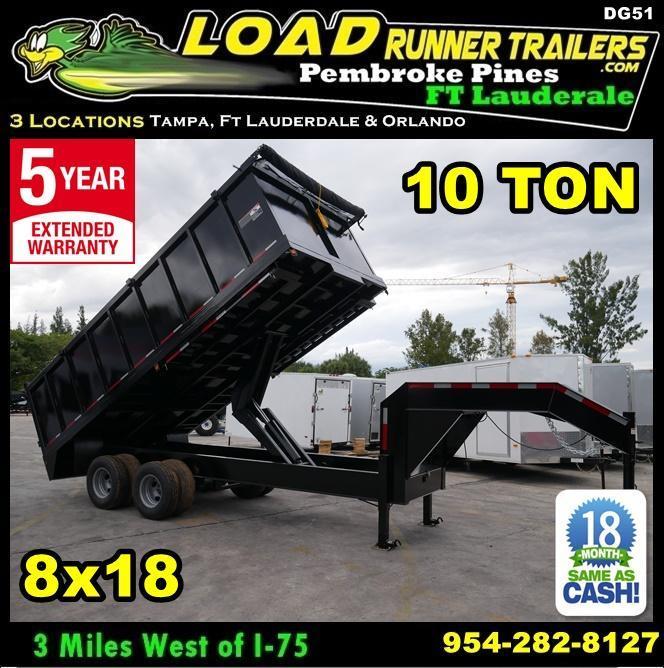 *DG51* 8x18 10 TON Dual Tandem Dump Trailer  LR Trailers 8 x 18   DG96-18T10-48S