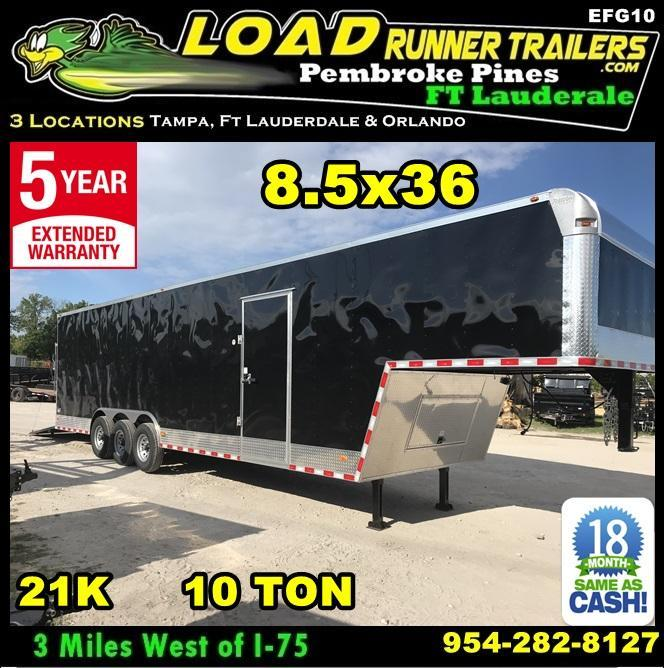 *EFG10* 8.5x36 Enclosed Gooseneck Cargo Trailer |21K Car Trailers 8.5 x 36 | EFG102-36TT7T-R