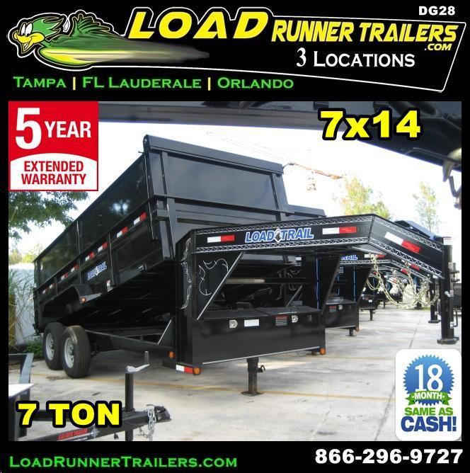 *DG28* 7x16x4 Gooseneck Dump Trailer 7 TON w/4' Sides Trailers 7 x 16 | DG83-14T7-24S+24