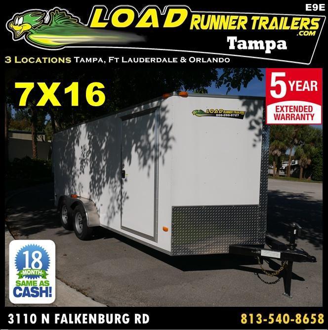 *E9E* 7x16 Enclosed Trailer Cargo Closed In Trailers|104795| 7 x 16 | EV7-16T3-R