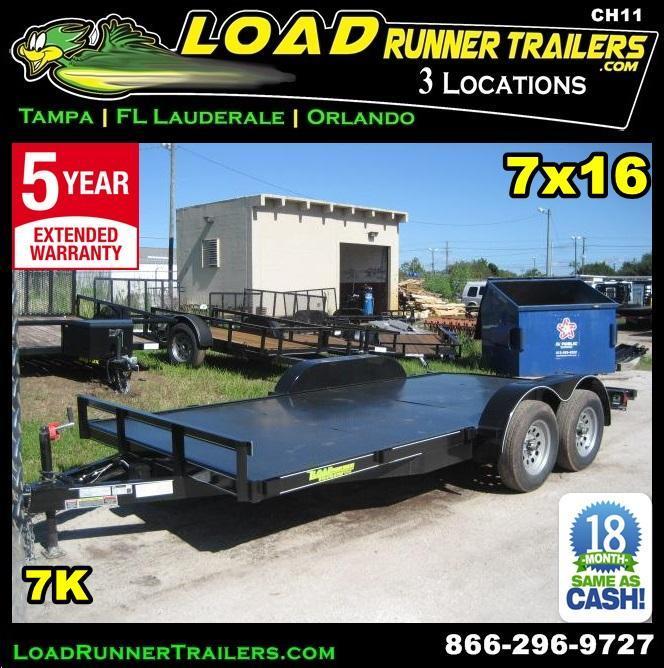 **CH11* 7x16 Car hauler Trailer w/Brakes LR Trailers & Haulers 7 x 16 | CH82-16T3-1B-SD* 7x16 7K Car Trailer Hauler Steel Deck w/Brakes 7 x 16 | CH82-16T3-1B-SD
