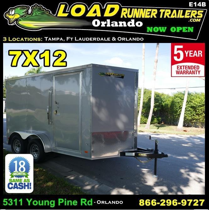 *E14B* 7x12 Enclosed Cargo Trailer Silver TA Trailers|105351| 7 x 12 | EV7-12T3-R
