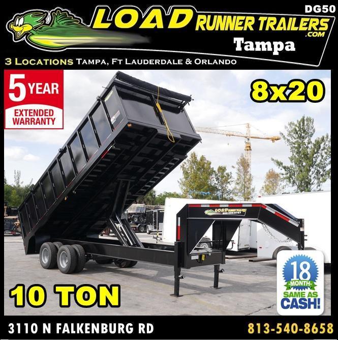 *DG50* 8x20 10 TON Dual Tandem Dump Trailer |LR Trailers 8 x 20 | DG96-20T10-48S