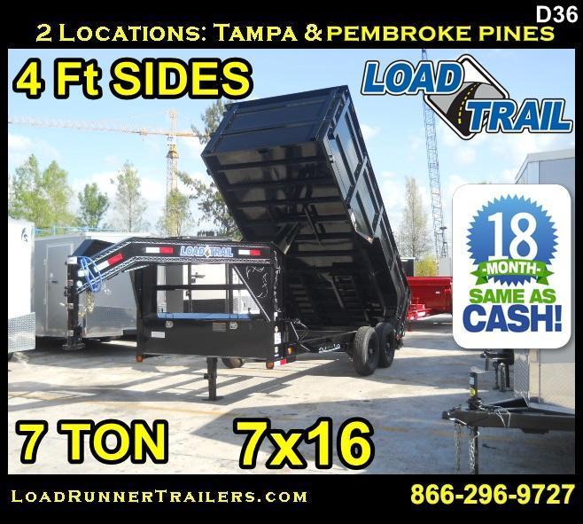 *D36* 7x16 Gooseneck 7 TON Load Trail Trailer | LR Trailers 7 x 16 | DG83-16T7-48S