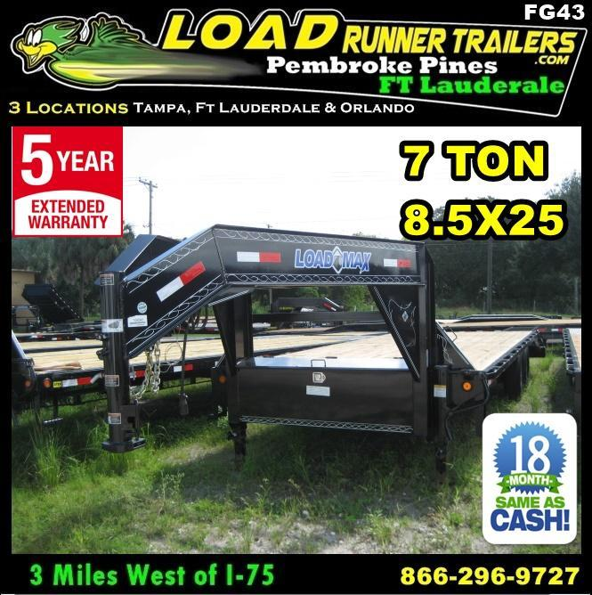*FG43* 8.5x25  Flatbed Trailer w/ Ramps 7 TON Deck Over 8.5 x 25 | FG102-25T7-FF