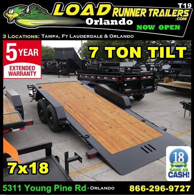 *T19* 7x18 7 TON Hydraulic Tilt Equipment Hauler Trailer 7 x 18 | T83-16+2T7T-GT