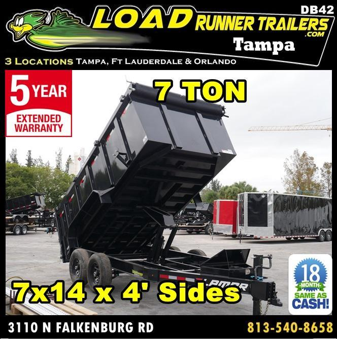 *DB42* 7x14 14K Lamar Dump Trailer 4' Sides 7 TON Trailers 7 x 14 | D83-14T7-LP/48S