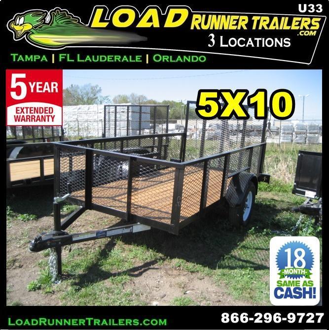 """*U33* 5x10  Utility / Lawn Trailer 2' [24""""] Mesh Sides 5 x 10   U60-10S3-AR/2M in Ashburn, VA"""