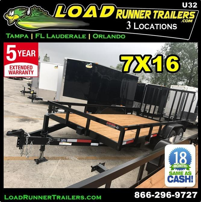 *U32* 7x16 Utility Trailer Tandem 5200# Axles|Tube Rail|4' Ramp 7 x 16 | U84-16T5-2B-TR