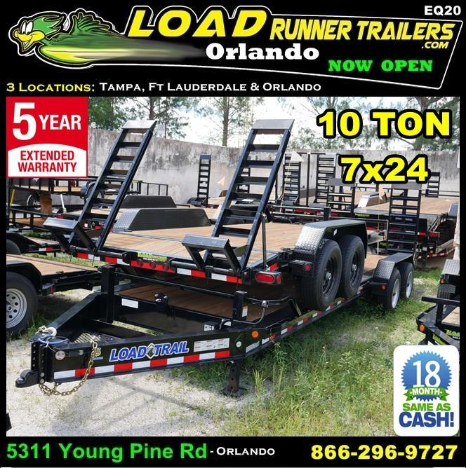 *EQ20* 7x24 10 TON Super Single Equipment Hauler Trailer w/Kicker Ramps 7 x 24 | EQ82-24T10T-KR