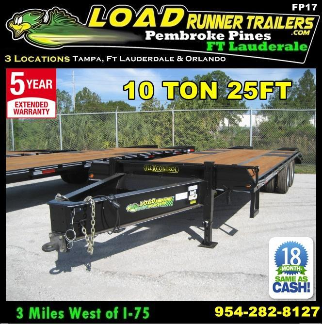 *FP17* 8.5x25 Flatbed Pintle Deck Over Pintle Lunette Eye Military Trailer 8.5 x 25 | FP102-25T10-FF