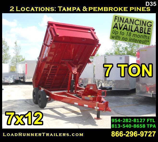 *D35* 7x12 7 TON LOAD TRAIL Dump Trailer | LR Trailers 7 x 12 | D83-12T7-24S