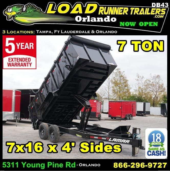*DB43* 7x14 14K Lamar Dump Trailer 4' Sides 7 TON Trailers 7 x 14 | D83-16T7-LP/48S