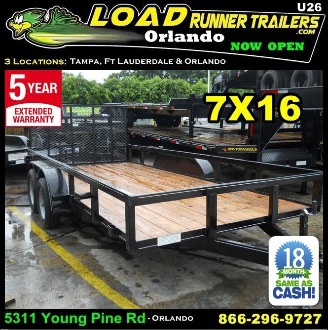 *U26* 7x16 Utility Trailer w/Ramp Elec Brakes and Tube Rail 7 x 16   U82-16T3-1B-TR in Ashburn, VA