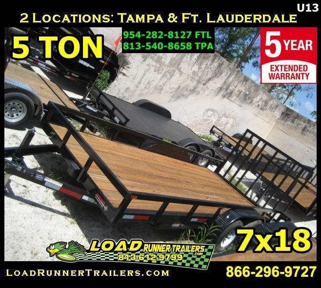*U13* 7x18 5 TON Utility Trailer w/ Dove Tail | 10400# 7 x 18 | U84-18T5-2B-TR