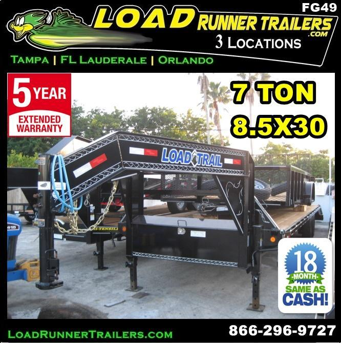 *FG49* 8.5x30 Gooseneck Flatbed Trailer |7 TON Deck Over Trailers 8.5 x 30 | FG102-30T7-FF