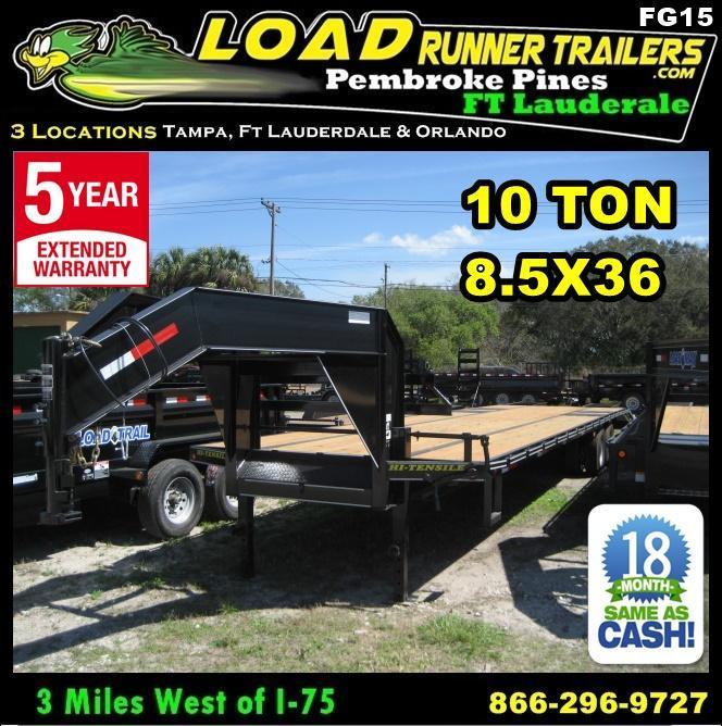 *FG15* 8.5x36 Flatbed Gooseneck Deck Over Trailer 10 TON|20K Trailers 8.5 x 36 | FG102-36T10-FF in Ashburn, VA