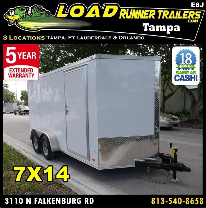 *E9J* 7x16 Enclosed Cargo Trailer Tandem Axle Hauler|RAMP 7 x 16 | EF7-16T3-R