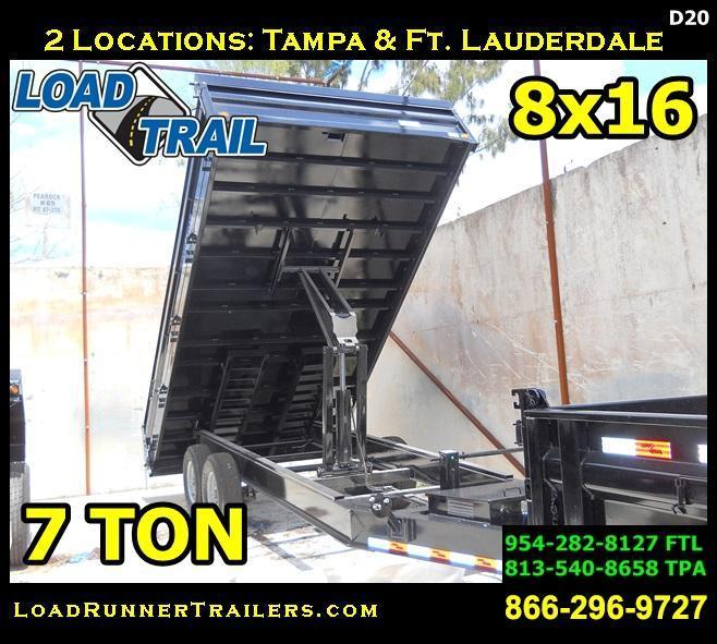 *D20* 8x16 7 TON Flatbed DUMP TRAILER Fold Down Sides 8 x 16 | D96-16T7-18S