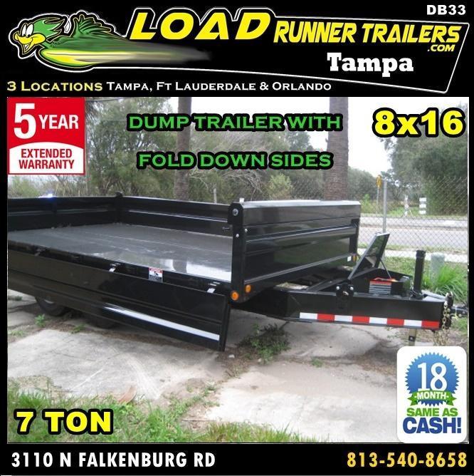 *DB33* 8x16 7 Ton Dump Trailer LRT Trailers w/Fold Down Sides 8 x 16 | D96-16T7-18S