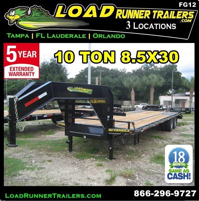 *FG12* 8.5x30 Flatbed Gooseneck Deck Over 10 TON|20K Trailer 8.5 x 30 | FG102-30T10-FF