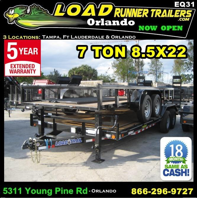 *EQ31* 8.5x22 7 TON Equipment & Car Hauler Trailer |LR Trailers 8.5 x 22 | EQ102-22T7-DOF/KR