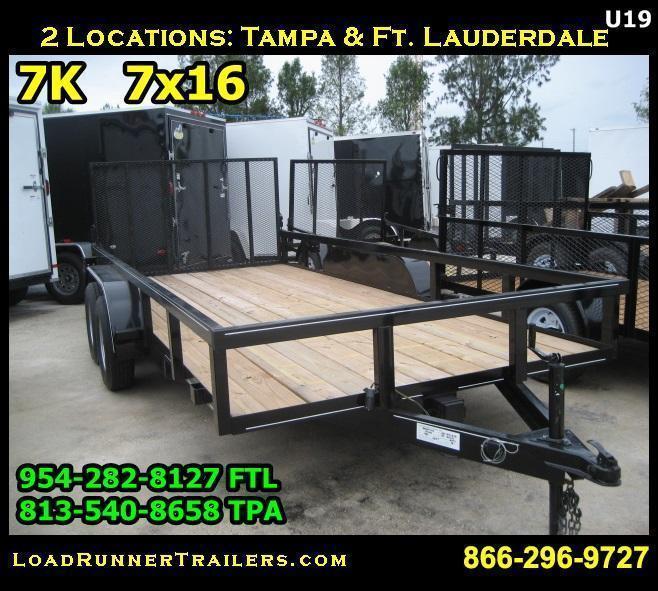 *U19* 7x16 Tube Rail Utility Trailer Tandem Axle | Lawn Trailers 7 x 16 | U82-16T3-1B-TR