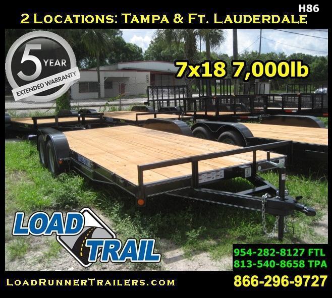 *H86* 7x18 Car Hauler Trailer W/Brakes Load Trail Hauler 7 x 18   CH83-18T3-2B