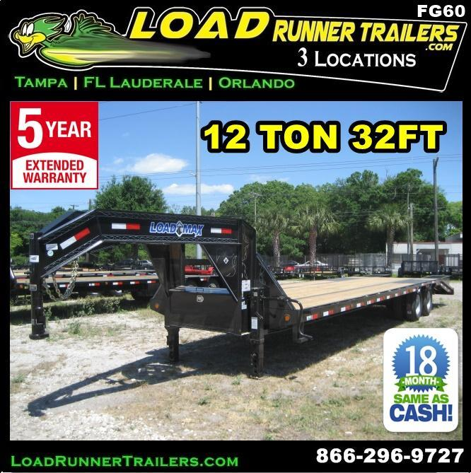 *FG60* 8.5x32 12 TON Flatbed Gooseneck Trailer |Deck Over Trailers 8.5 x 32 | FG102-32T12-FF