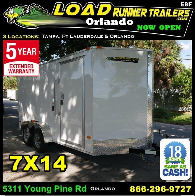 *E8F* 7x14 Enclosed Trailer Cargo Tandem Axle Trailers |105814| 7 x 14 | EV7-14T3-R