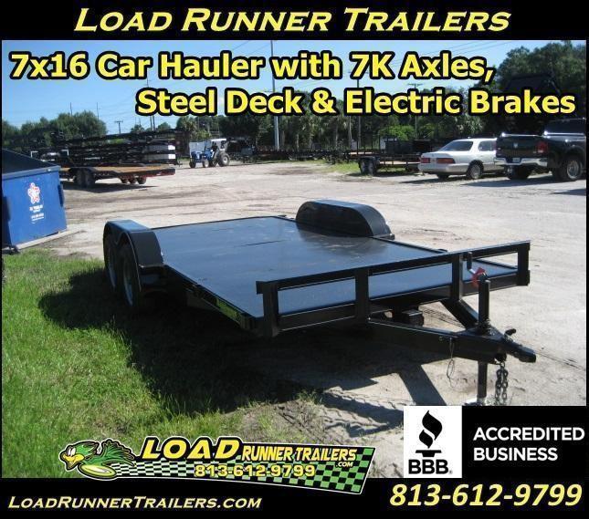 H25| 7x16 Car Hauler | 7K w/ Steel Deck & Electric Brakes |LR Trailers |H25
