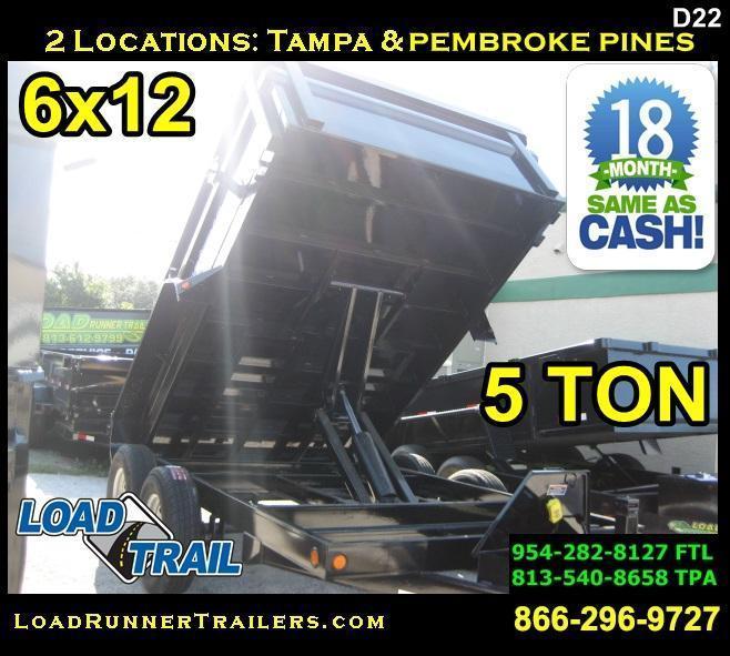 *D22* 6x12 Dump Trailer LR 5 TON Trailers 6 x 12 | D72-12T5-24S