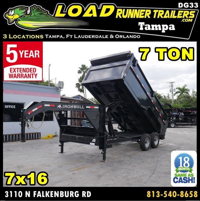 *DG33* 7x16 7 TON Gooseneck Dump Trailer |LRT Trailers 7 x 16 | DG83-16T7-48S