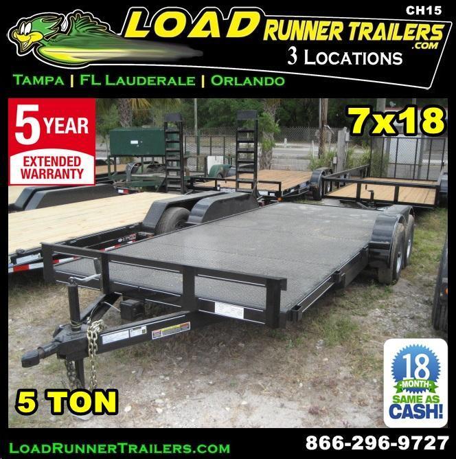 *CH15* 7x18 5 Ton Car Hauler Trailers LR Haulers & Trailer Brakes 7 x 18 | CH82-18T5-1B-SD
