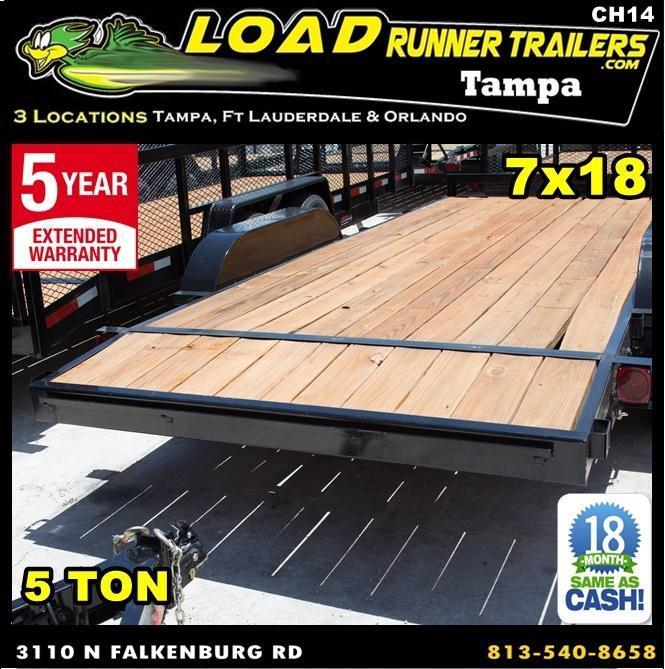 *CH14* 7x18 Car Hauler Trailer w/Brakes |5 TON Trailers 7 x 18 | CH82-18T5-1B