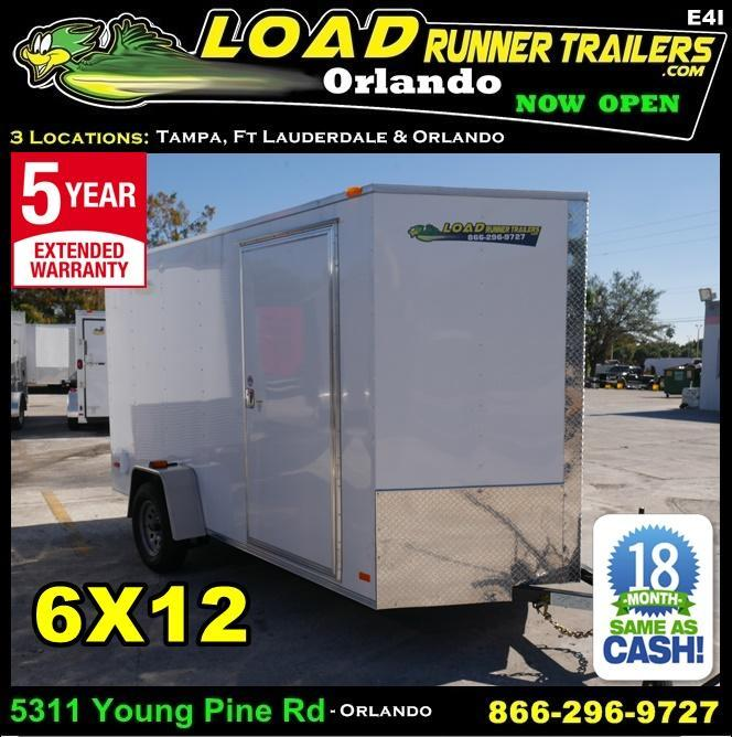*E4I* 6X12  Enclosed Cargo Trailer LR Trailers|105144 6 x 12 | EV6-12S3-R