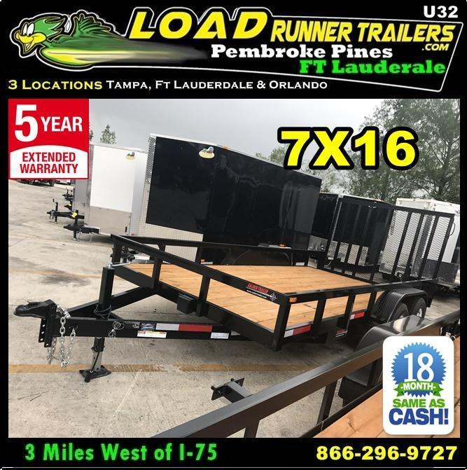 *U32* 7x16 Utility Trailer Tandem 5200# Axles|Tube Rail|4' Ramp 7 x 16 | U84-16T5-2B-TR