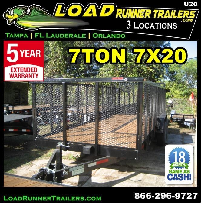 *U20* 7x20 Heavy Duty 7 TON Utility Trailer 4' Mesh and Tube Rail 7 x 20 | U84-20T7-TR/4M