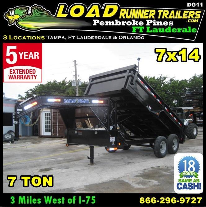 *DG11* 7x14 Load Trail Dump Trailer 7 TON Gooseneck Trailers 7 x 14 | DG83-14T7-24S
