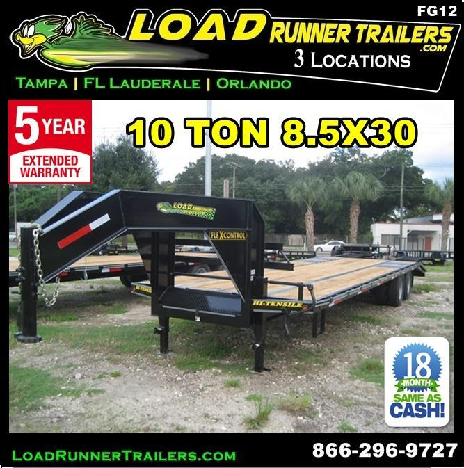 *FG13* 8.5X32 10 TON FLATBED GOOSENECK TRAILER |DECK OVER TRAILERS 8.5 x 32 | FG102-32T10-FF