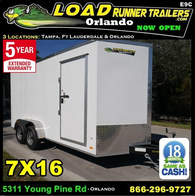 *E9C* 7x16 Enclosed Trailer Cargo Tandem Axle Trailers|105232| 7 x 16 | EV7-16T3-R