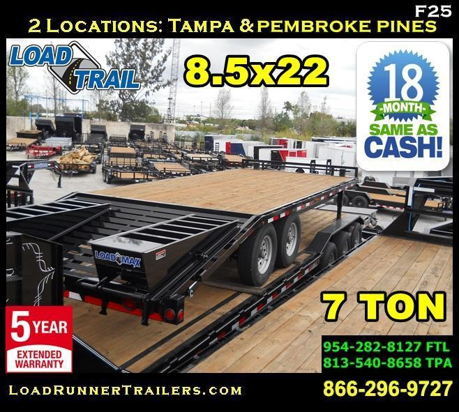 *F25* 8.5x22 7 TON Flatbed Deck Over Trailer w/ Multipurpose Dove 8.5 x 22 | FP102-22T7-MPD
